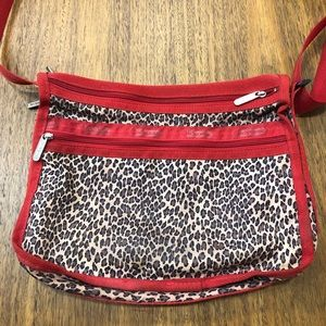 Le Sportsac Leopard Canvas Crossbody Purse